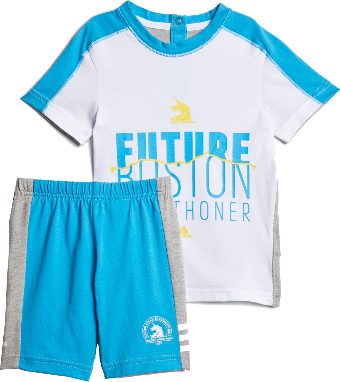 adidas Toddler Girls' Boston Marathon Running T-Shirt and Shorts Set