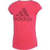 adidas Girls' climalite Rainbow Foil Logo T-Shirt