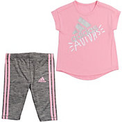adidas Little Girls' T-Shirt and Capri Tights Set