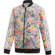 adidas Originals Girls' Superstar Floral Print Track Jacket