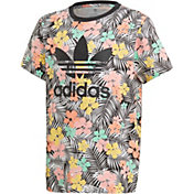 adidas Originals Girls' Floral Leaf Print T-Shirt
