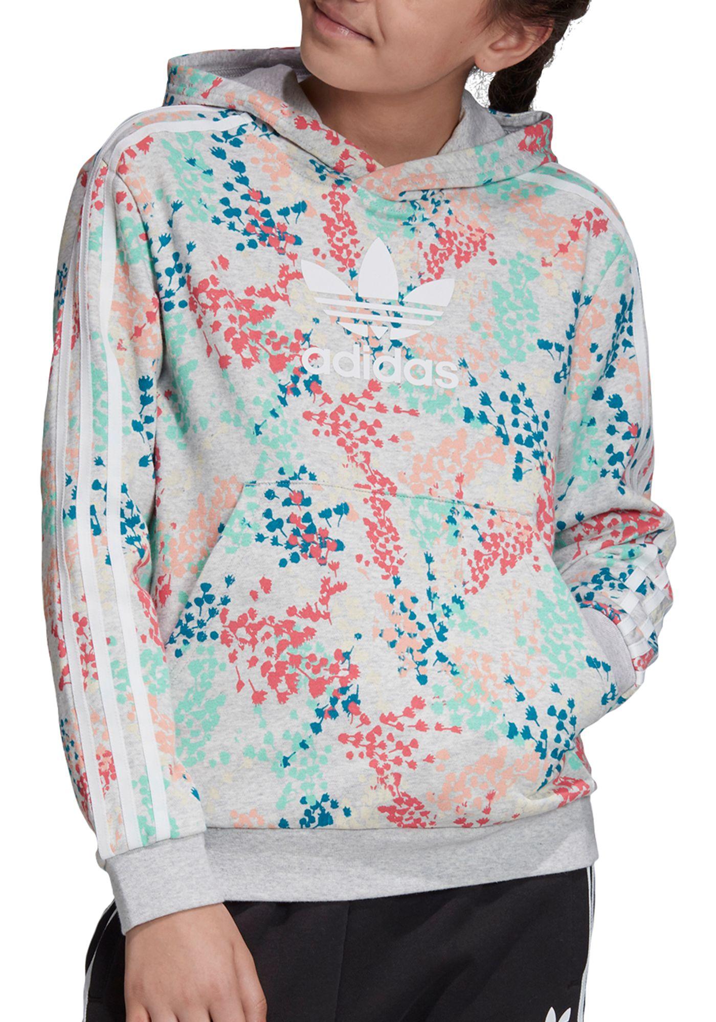 adidas Originals Girls' Floral Trefoil Pullover Hoodie