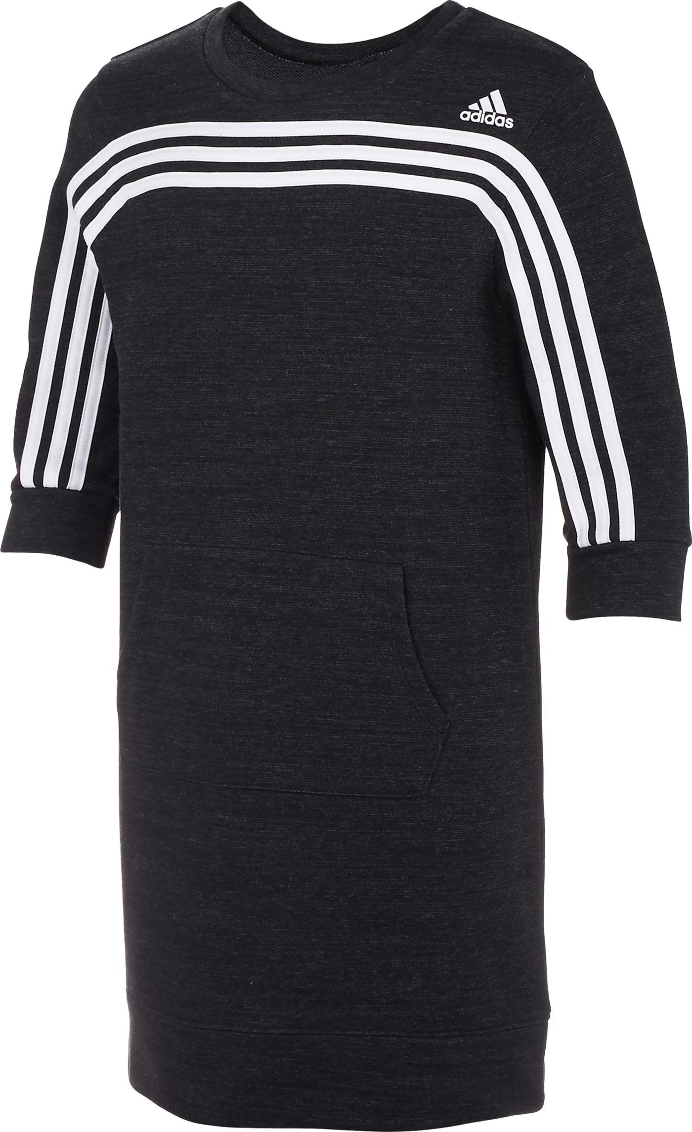adidas Girls' French Terry Stripe Long Sleeve Dress