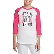 adidas Girls' Destiny ¾ Sleeve Softball Graphic T-Shirt