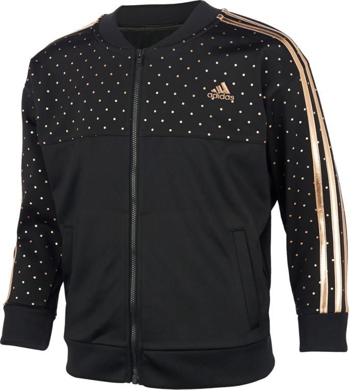 adidas Girls' Zip Front Dot Tricot Jacket