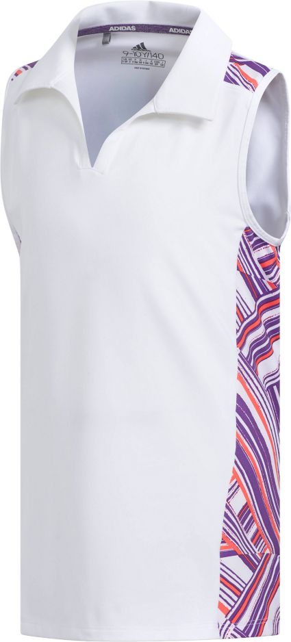 adidas Girls' Novelty Sleeveless Golf Polo