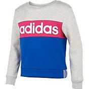 adidas Girls' Pieced Crew Sweatshirt