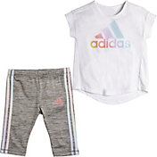 adidas Little Girls' Iridescence T-Shirt and Capri Tights Set