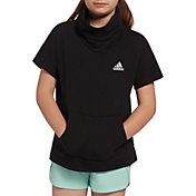 adidas Girls' French Terry Funnel Neck Short Sleeve Pullover