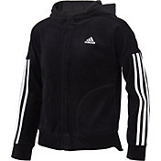 adidas Girls' Zip Front Velour Hooded Jacket
