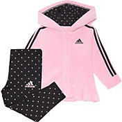 adidas Toddler Girls' Zip Front Velour Hooded Jacket and Printed Tights Set