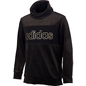 adidas Girls' Velour Metallic Funnel Neck Sweatshirt