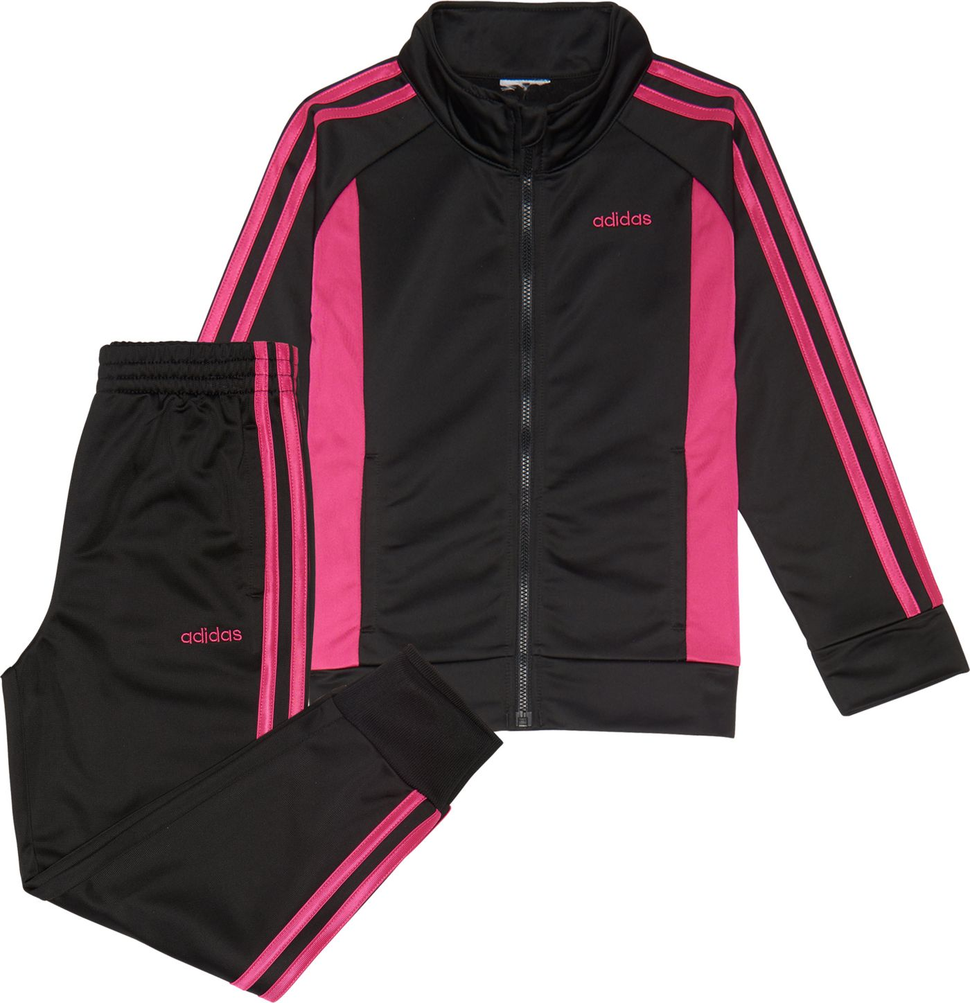 adidas Little Girls' Zip Front Event Tricot Jacket and Jogger Pants Set
