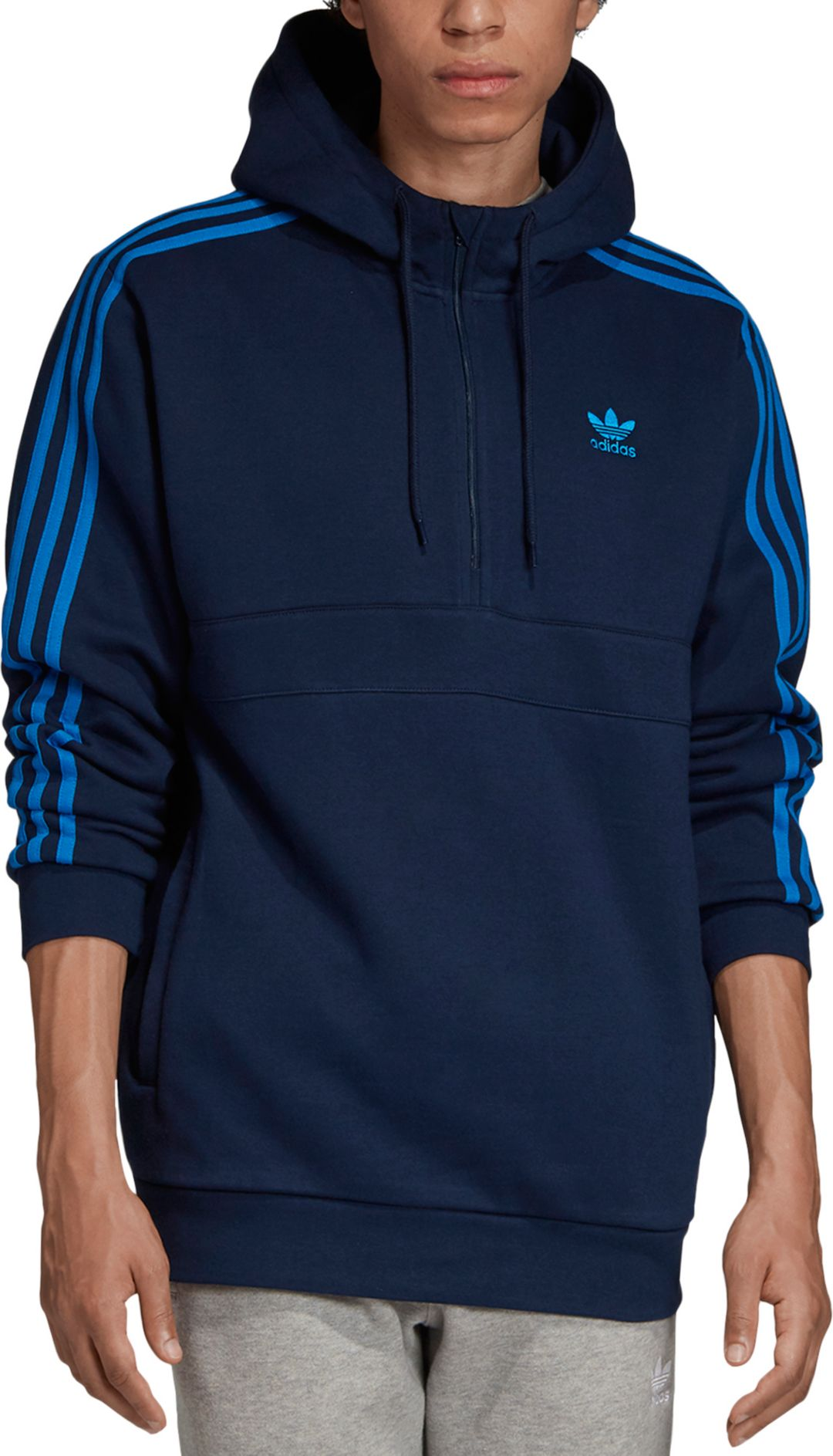 adidas Originals Men's 3-Stripes Half Zip Hoodie