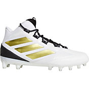 adidas Men's Freak Carbon Mid Football Cleats in White/Gold