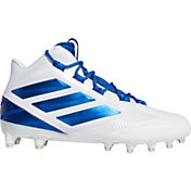 adidas Men's Freak Carbon Mid Football Cleats in White/Royal