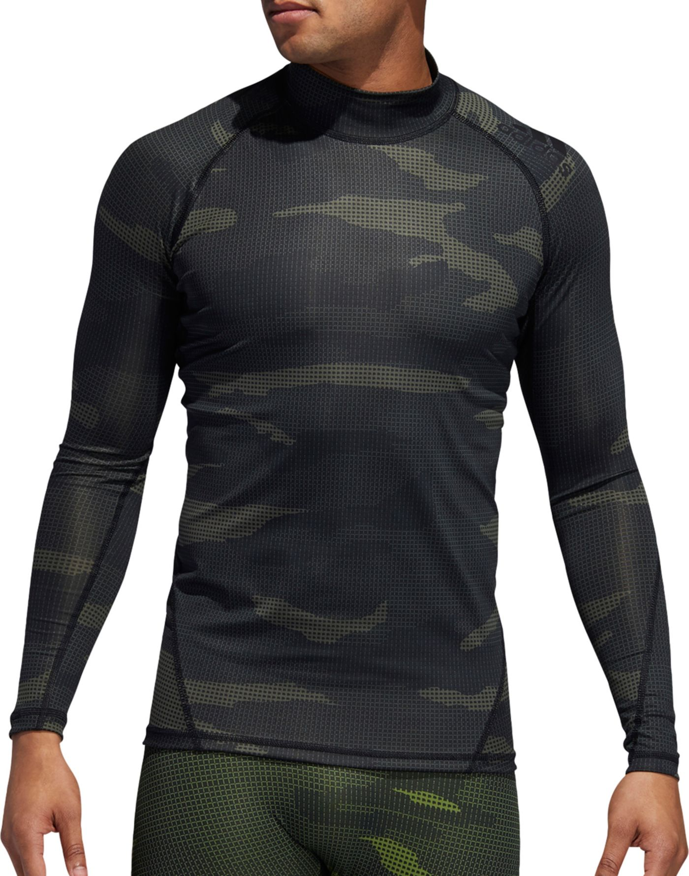 adidas Men's Alphaskin Camouflage Long Sleeve Shirt