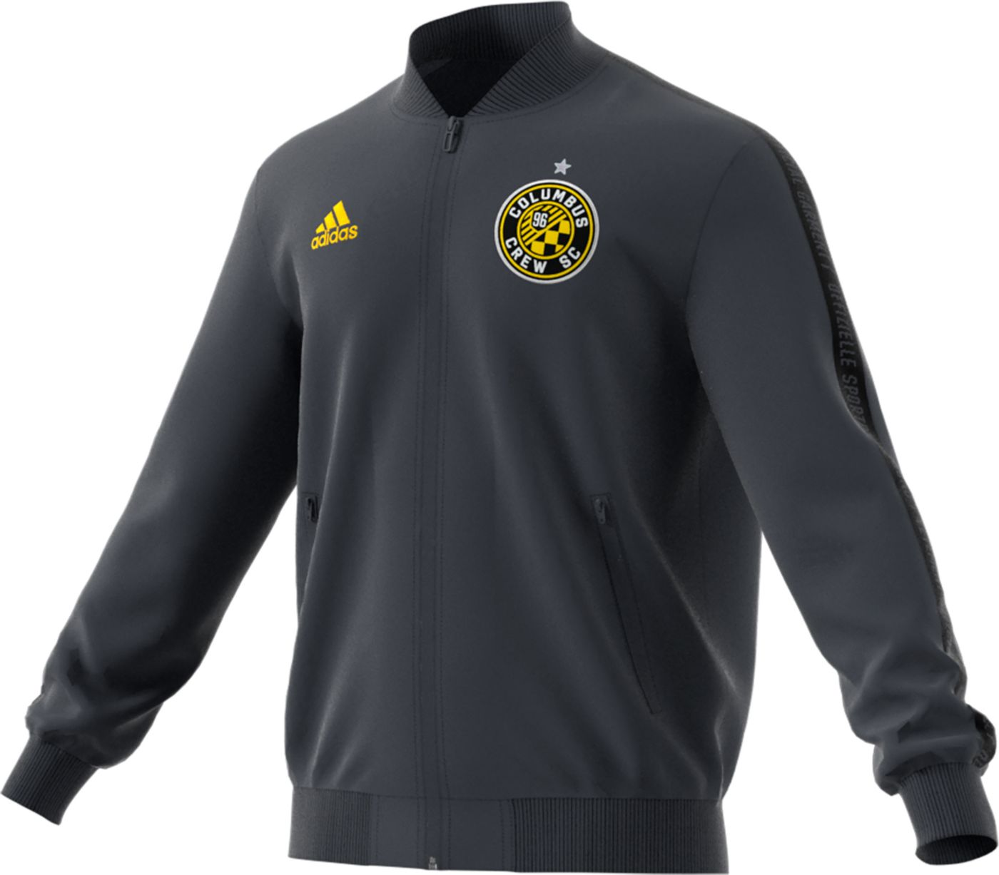 adidas Men's Columbus Crew Anthem Black Full-Zip Jacket
