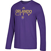 adidas Men's Orlando City Logo Performance Purple Long Sleeve Shirt