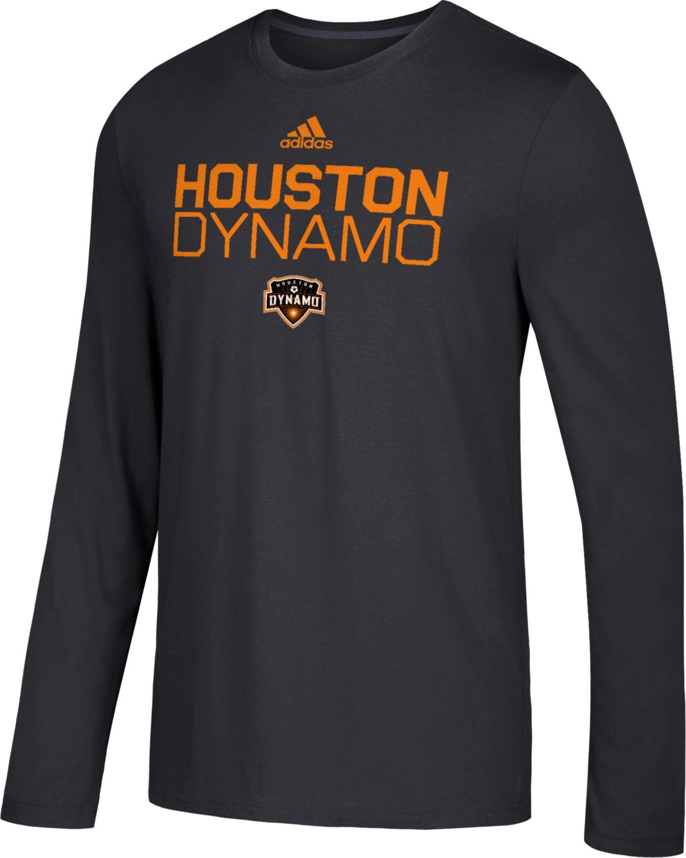 adidas Men's Houston Dynamo Logo Performance Black Long Sleeve Shirt