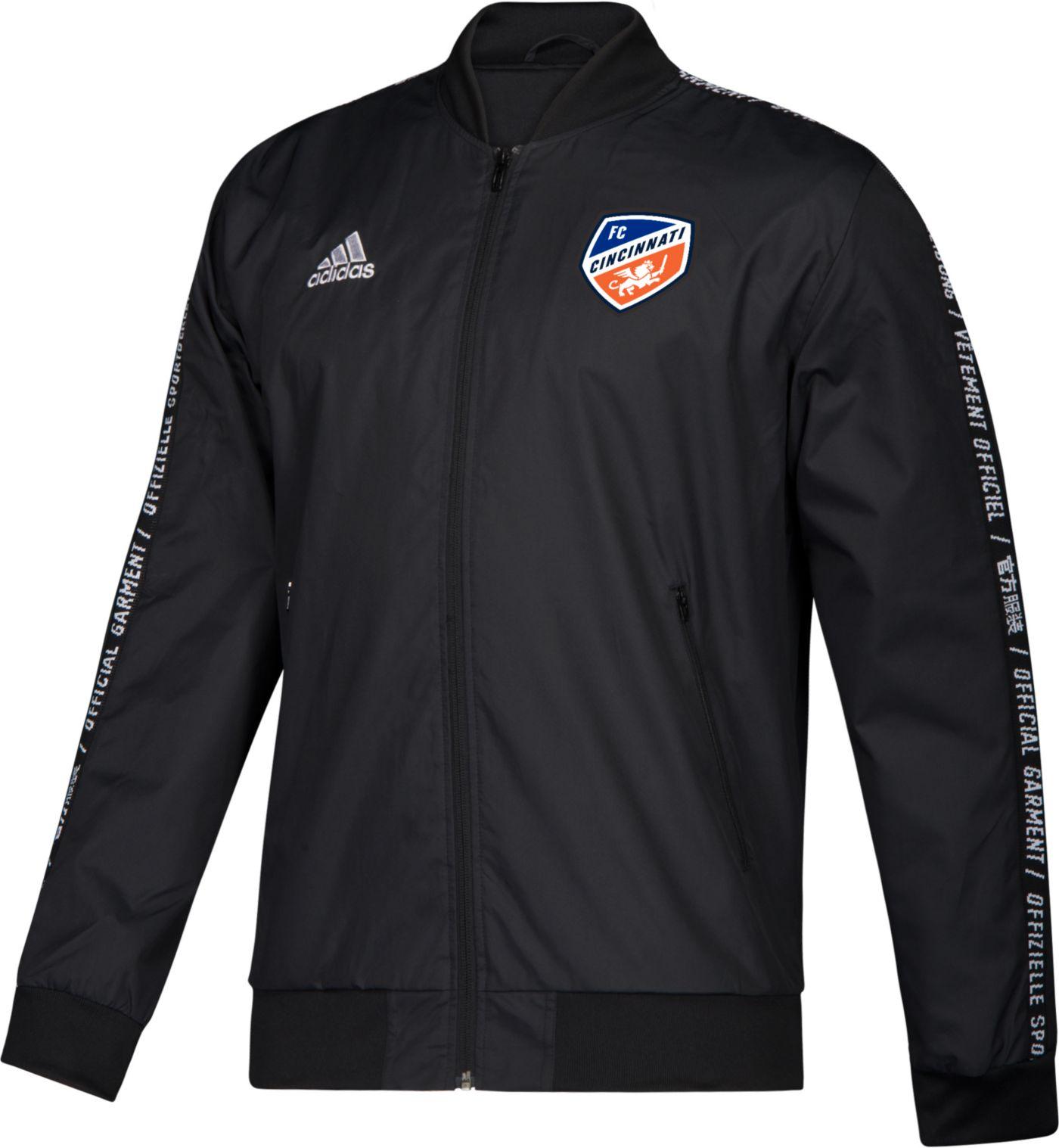 adidas Men's FC Cincinnati Anthem Black Full-Zip Jacket