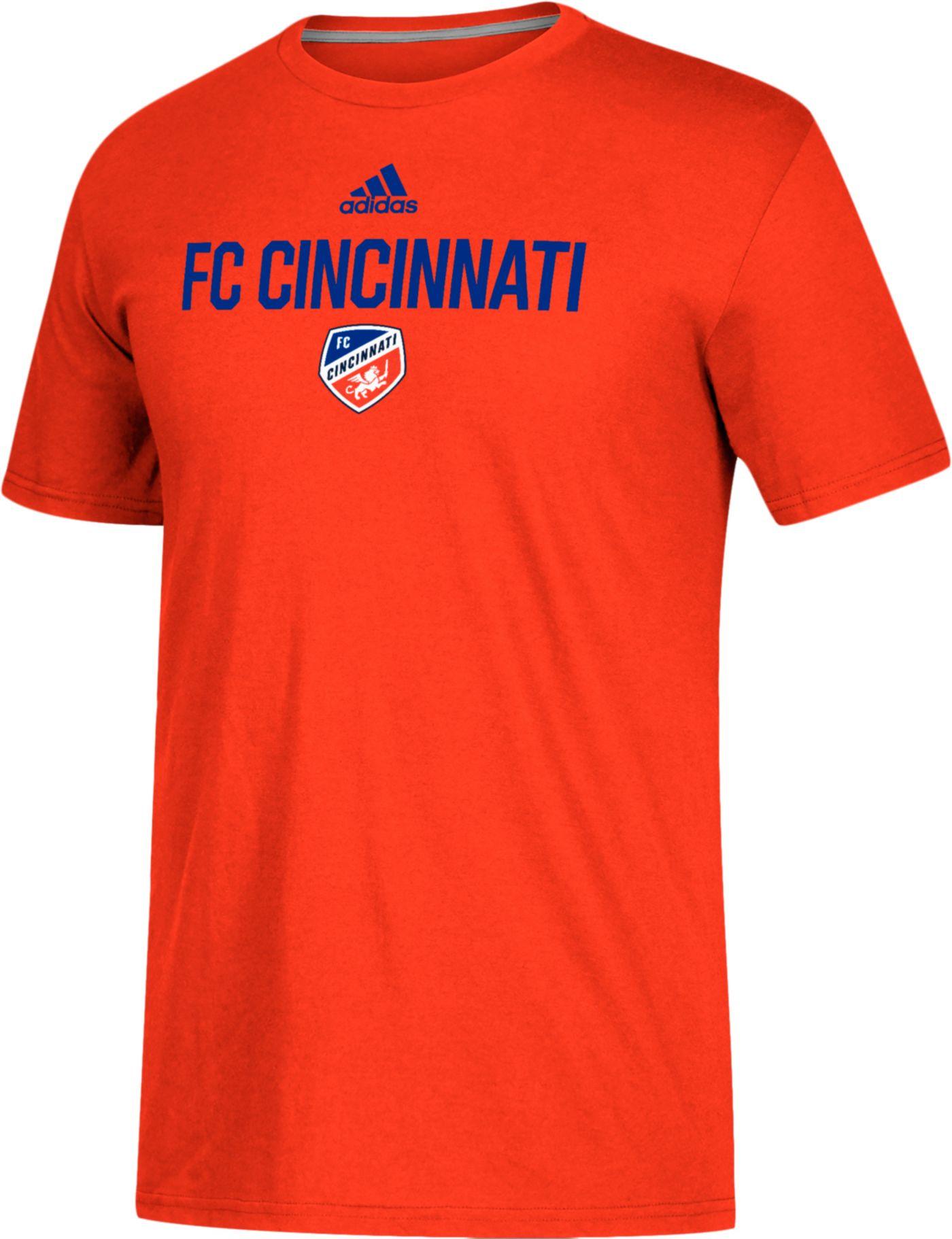 adidas Men's FC Cincinnati Logo Performance Orange T-Shirt
