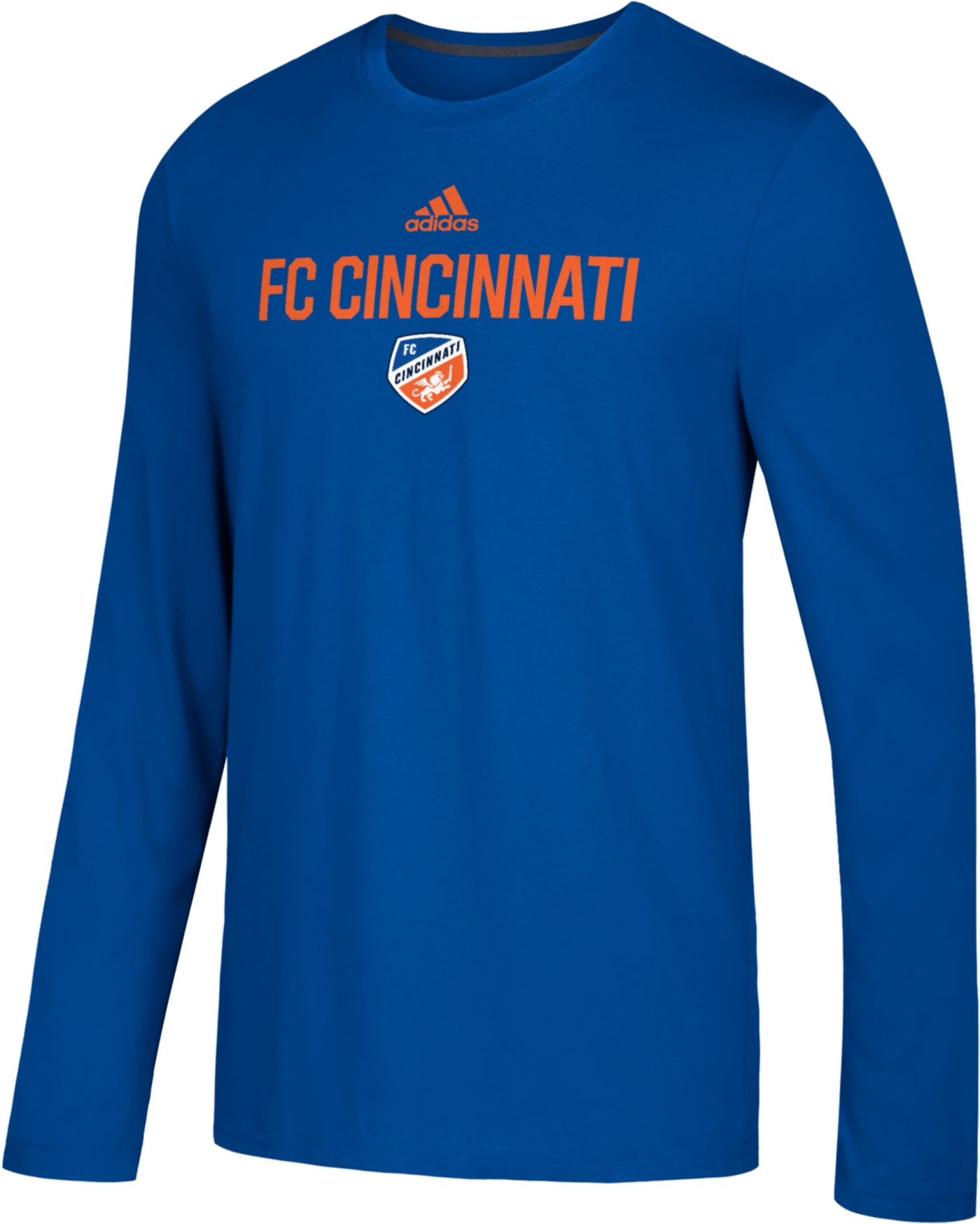 adidas Men's FC Cincinnati Logo Performance Royal Long Sleeve Shirt