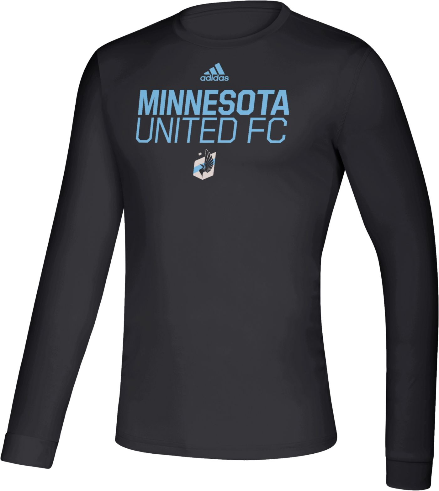 adidas Men's Minnesota United FC Logo Black Performance Long Sleeve Shirt
