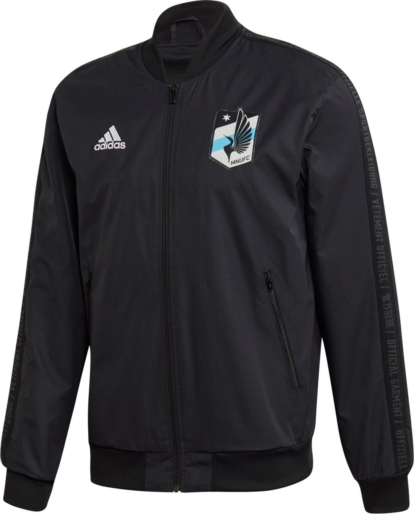 adidas Men's Minnesota United FC Anthem Black Full-Zip Jacket