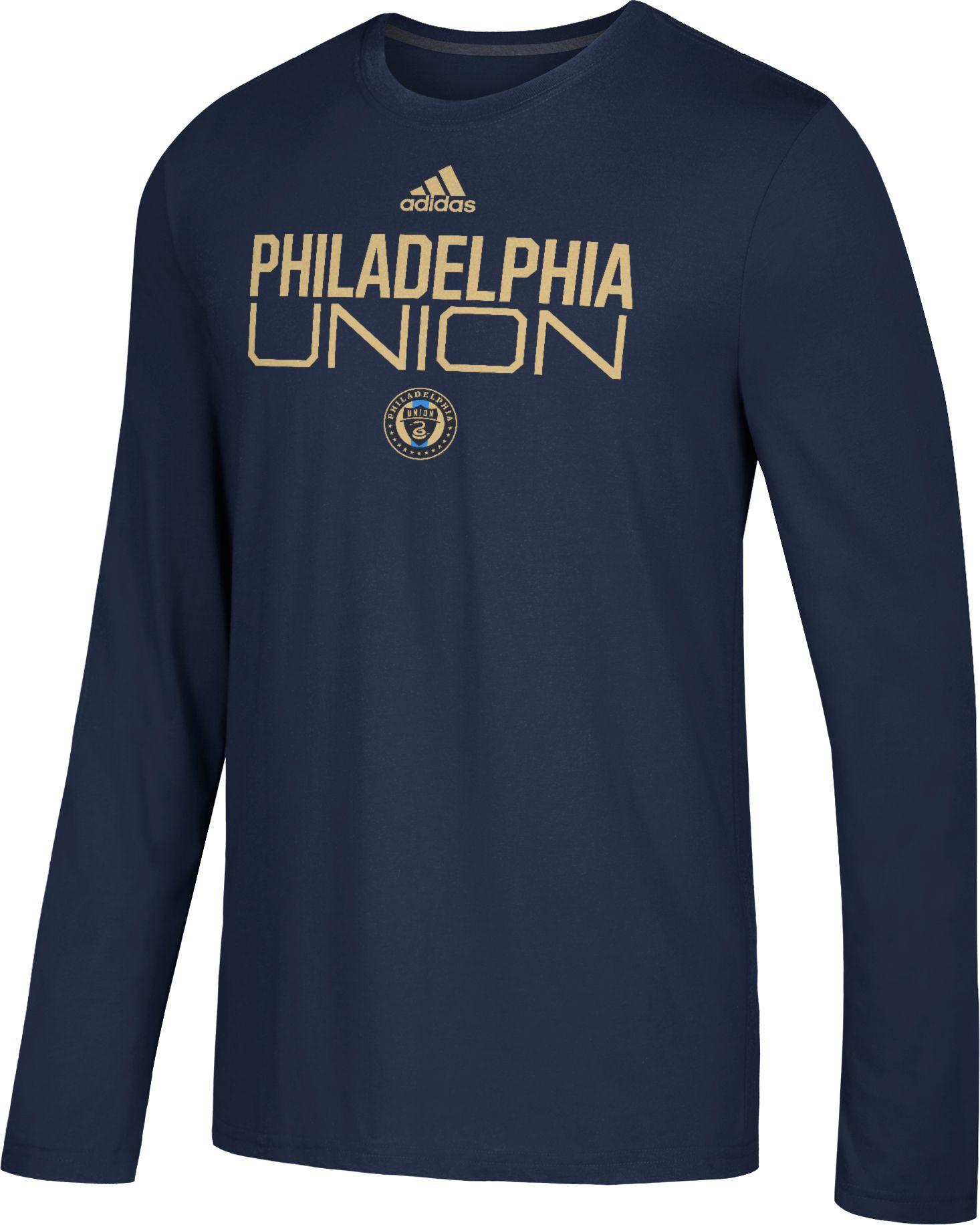buy popular a9a1b edbc9 adidas Men's Philadelphia Union Logo Performance Navy Long Sleeve Shirt