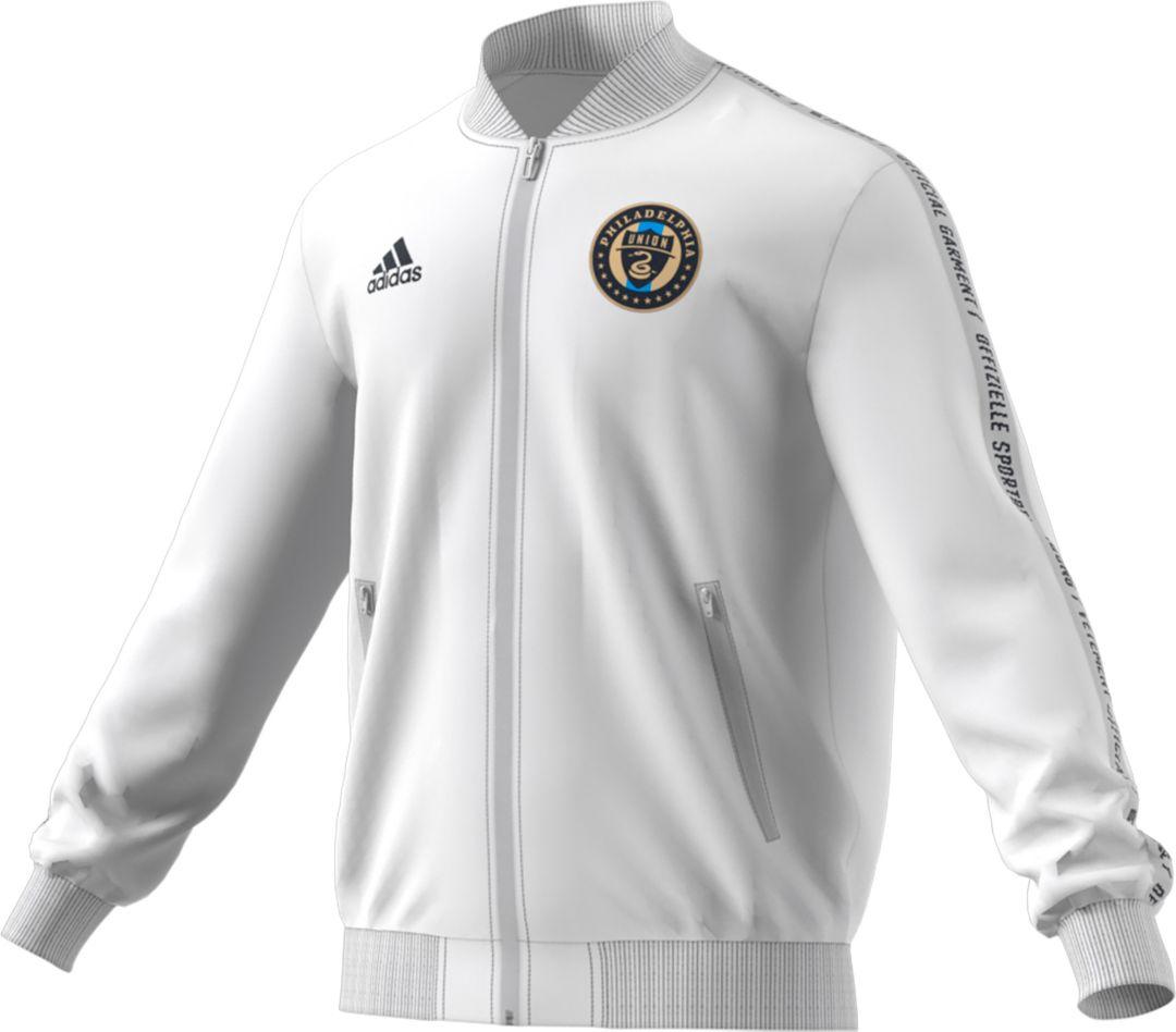 watch 2c575 d8916 adidas Men's Philadelphia Union Anthem White Full-Zip Jacket