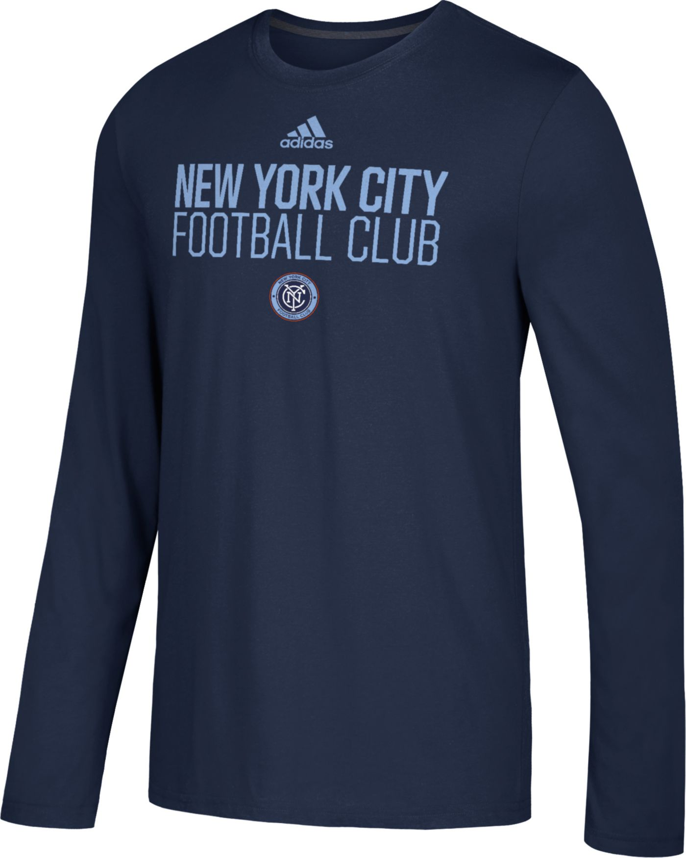 adidas Men's New York City FC Logo Performance Navy Long Sleeve Shirt