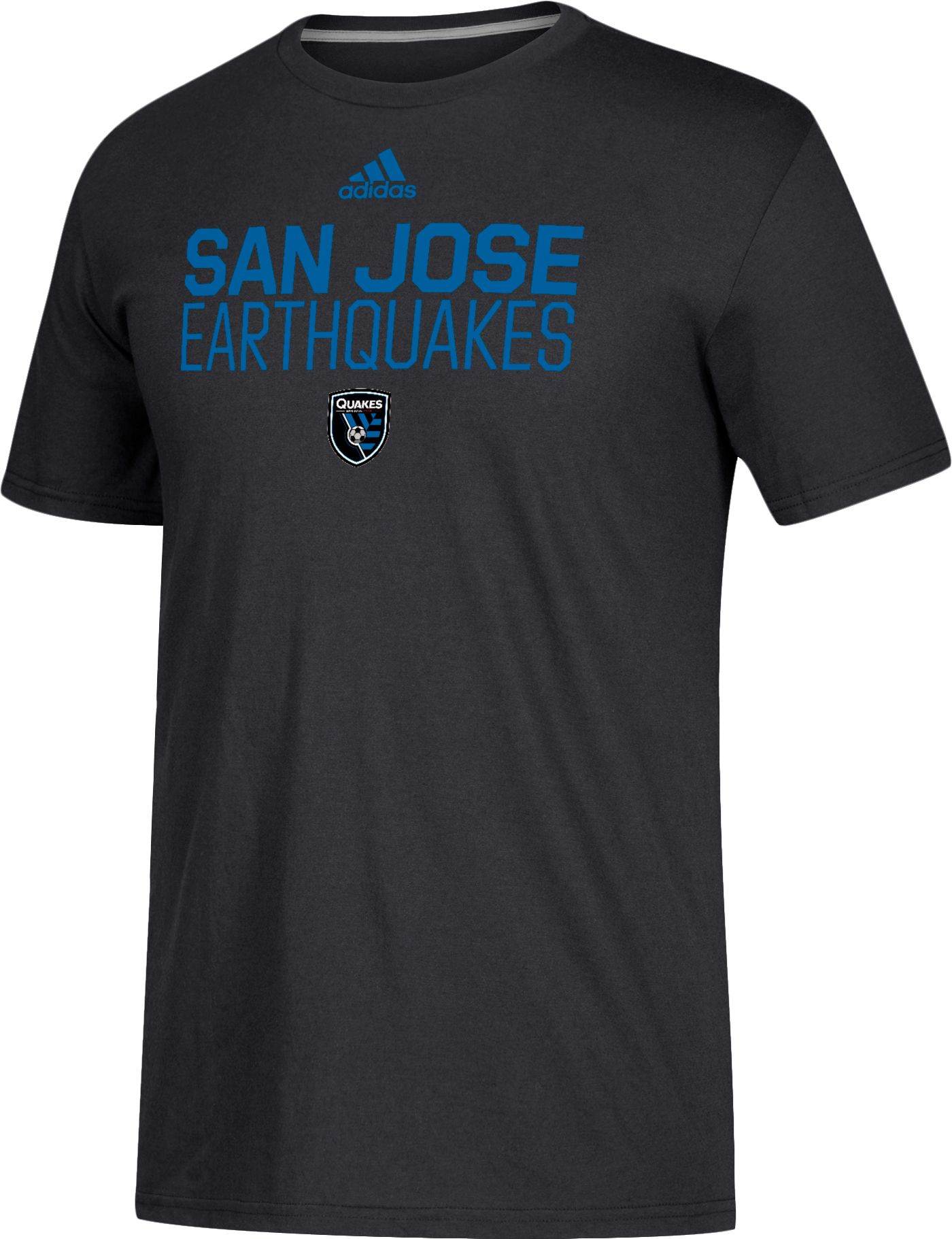 adidas Men's San Jose Earthquakes Logo Black Performance T-Shirt
