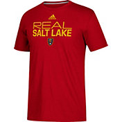 adidas Men's Real Salt Lake Logo Red Performance T-Shirt