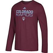 adidas Men's Colorado Rapids Logo Performance Maroon Long Sleeve Shirt