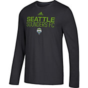 adidas Men's Seattle Sounders Logo Performance Black Long Sleeve Shirt