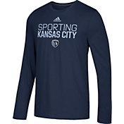 adidas Men's Sporting Kansas City Logo Performance Navy Long Sleeve Shirt