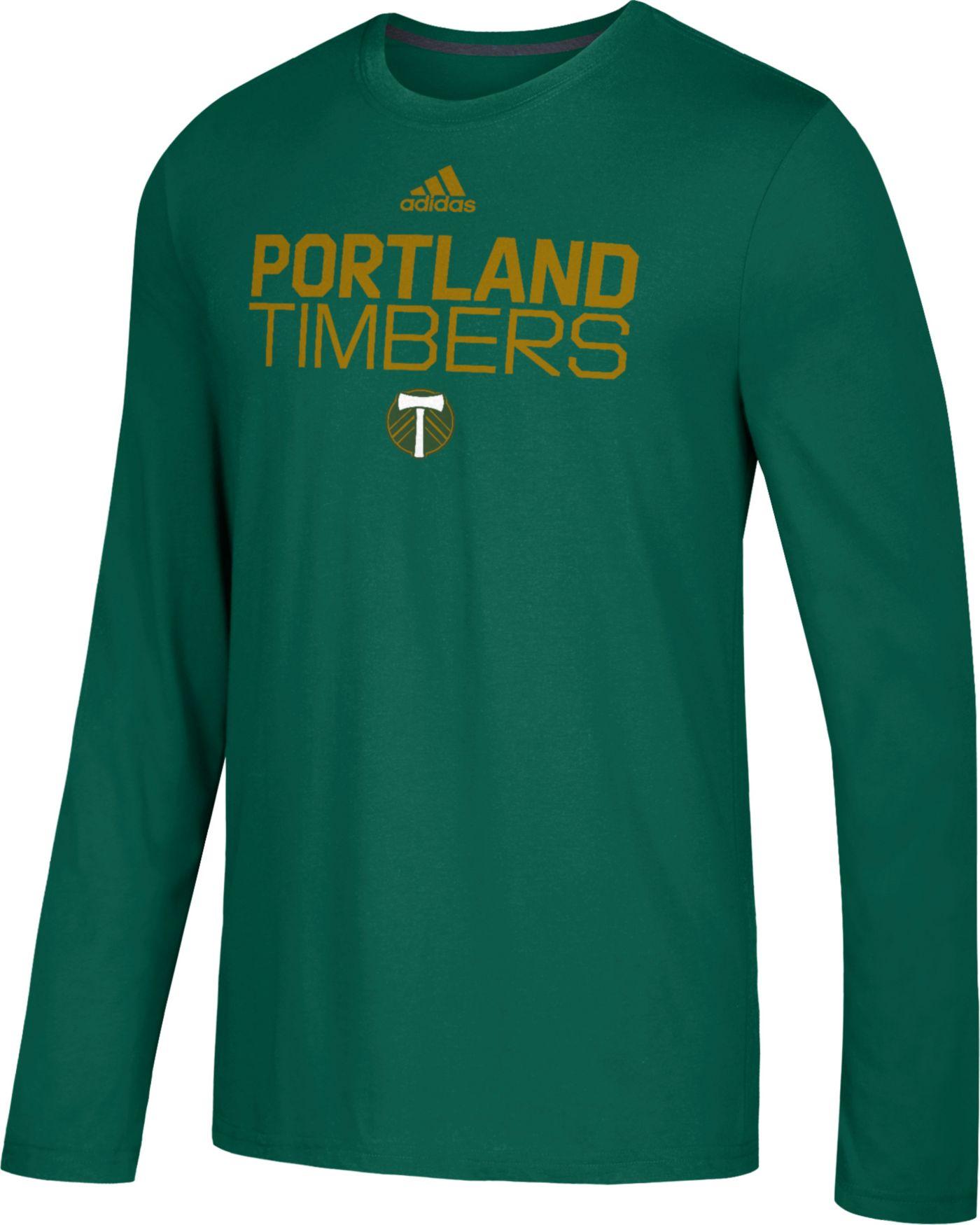 adidas Men's Portland Timbers Logo Performance Green Long Sleeve Shirt