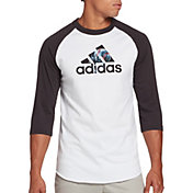 adidas Men's Triple Stripe Graphic ¾ Sleeve Baseball Shirt