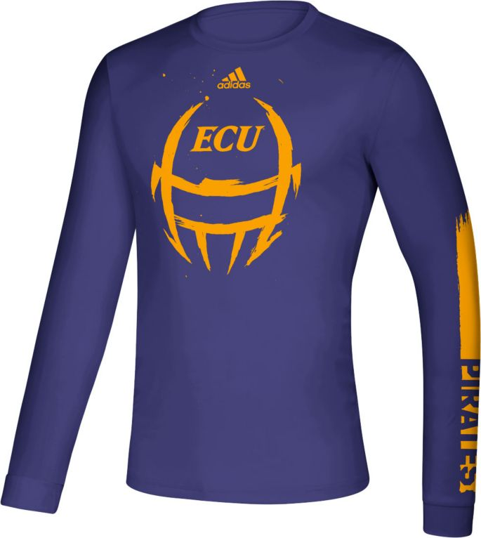 buy online a22f9 f7e87 adidas Men's East Carolina Pirates Purple Locker Football Long Sleeve  T-Shirt