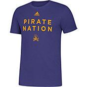 adidas Men's East Carolina Pirates Purple Slogan T-Shirt