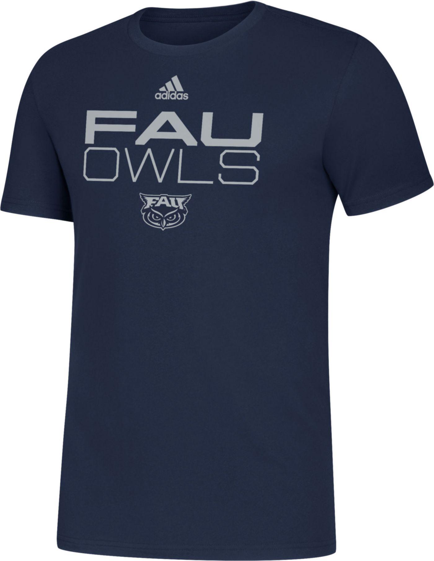 adidas Men's Florida Atlantic Owls Blue Sideline Locker Stacked T-Shirt