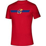 adidas Men's Kansas Jayhawks Red Locker Stripe Sideline T-Shirt