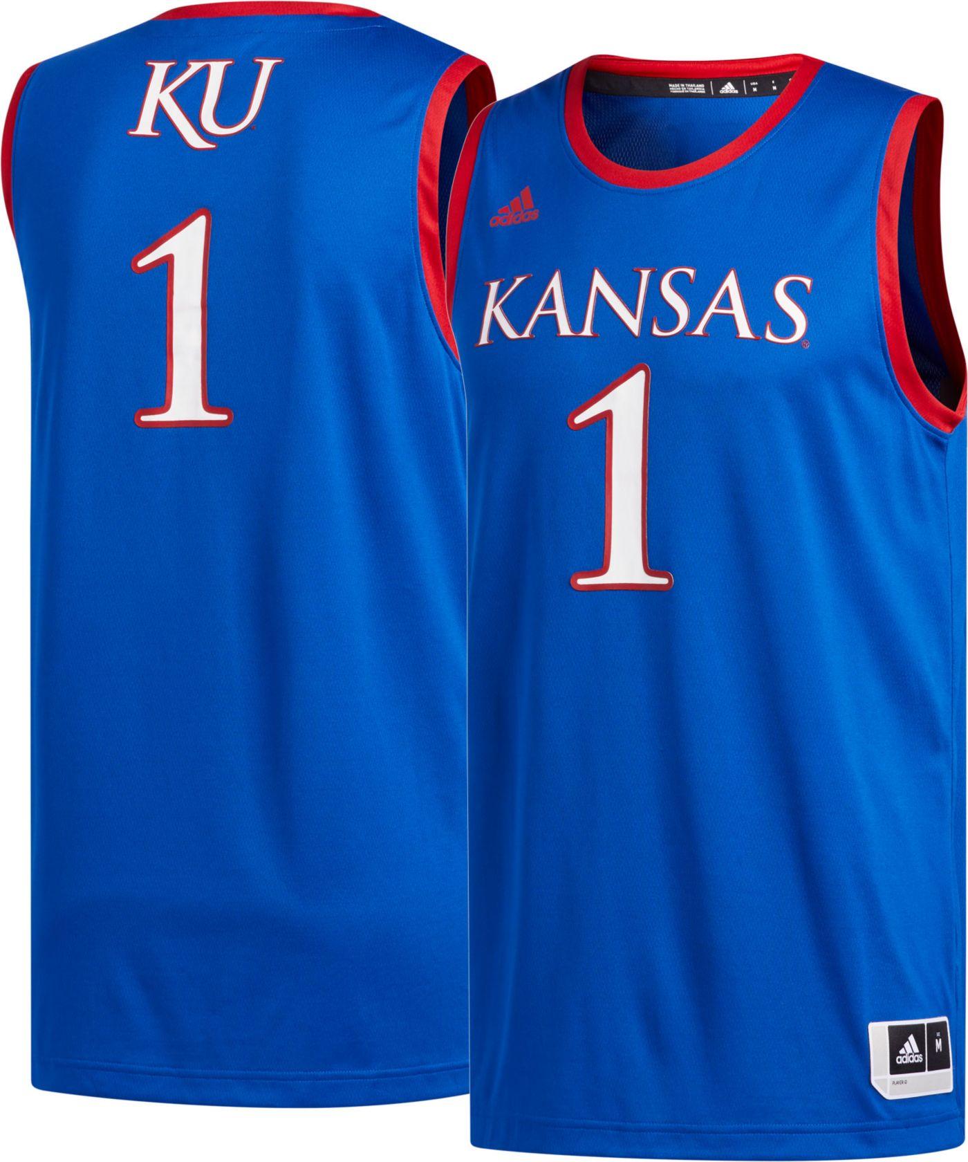 adidas Men's Kansas Jayhawks #1 Blue Creator 365 Replica Basketball Jersey