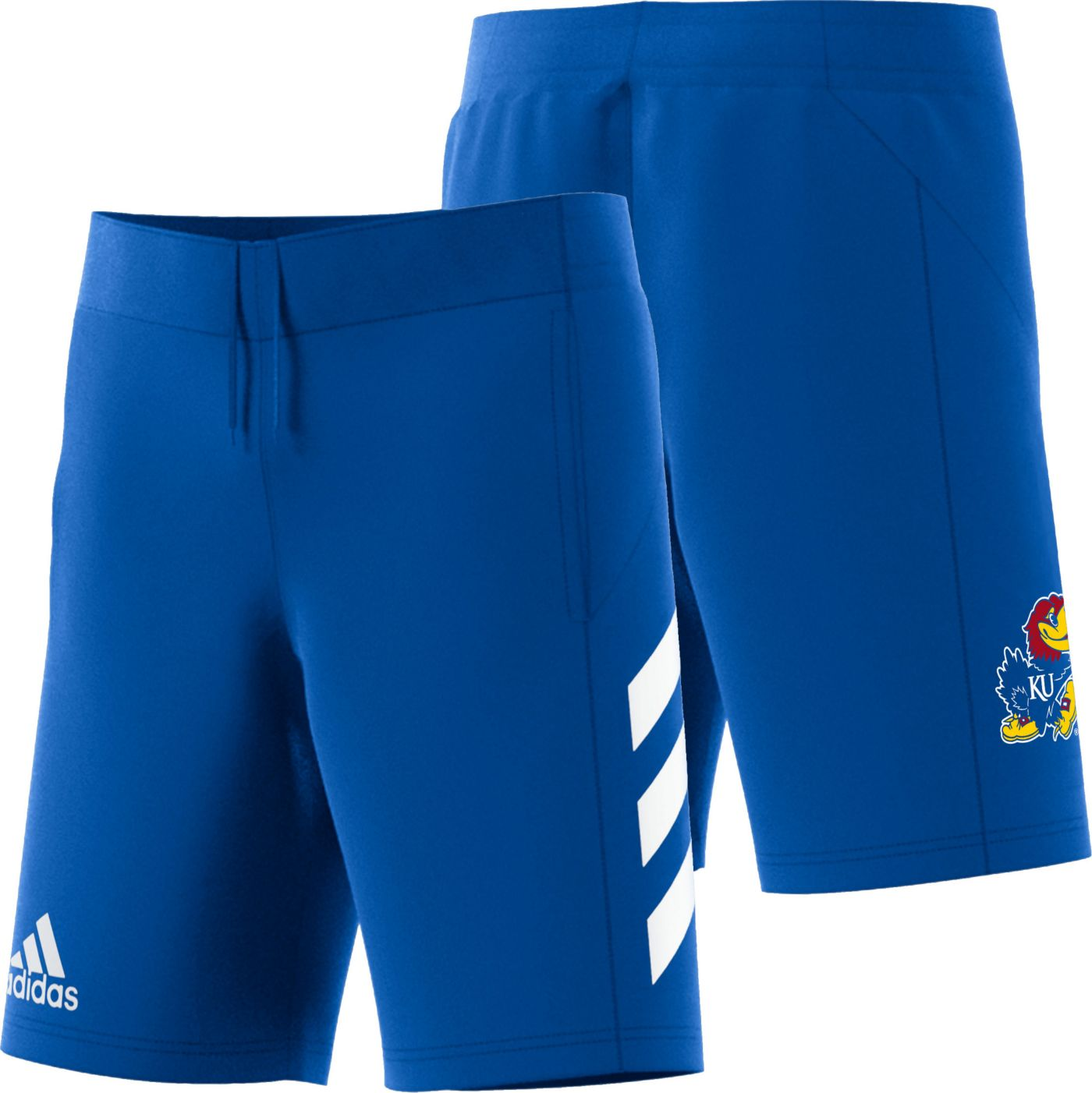 adidas Men's Kansas Jayhawks Blue Practice Basketball Shorts
