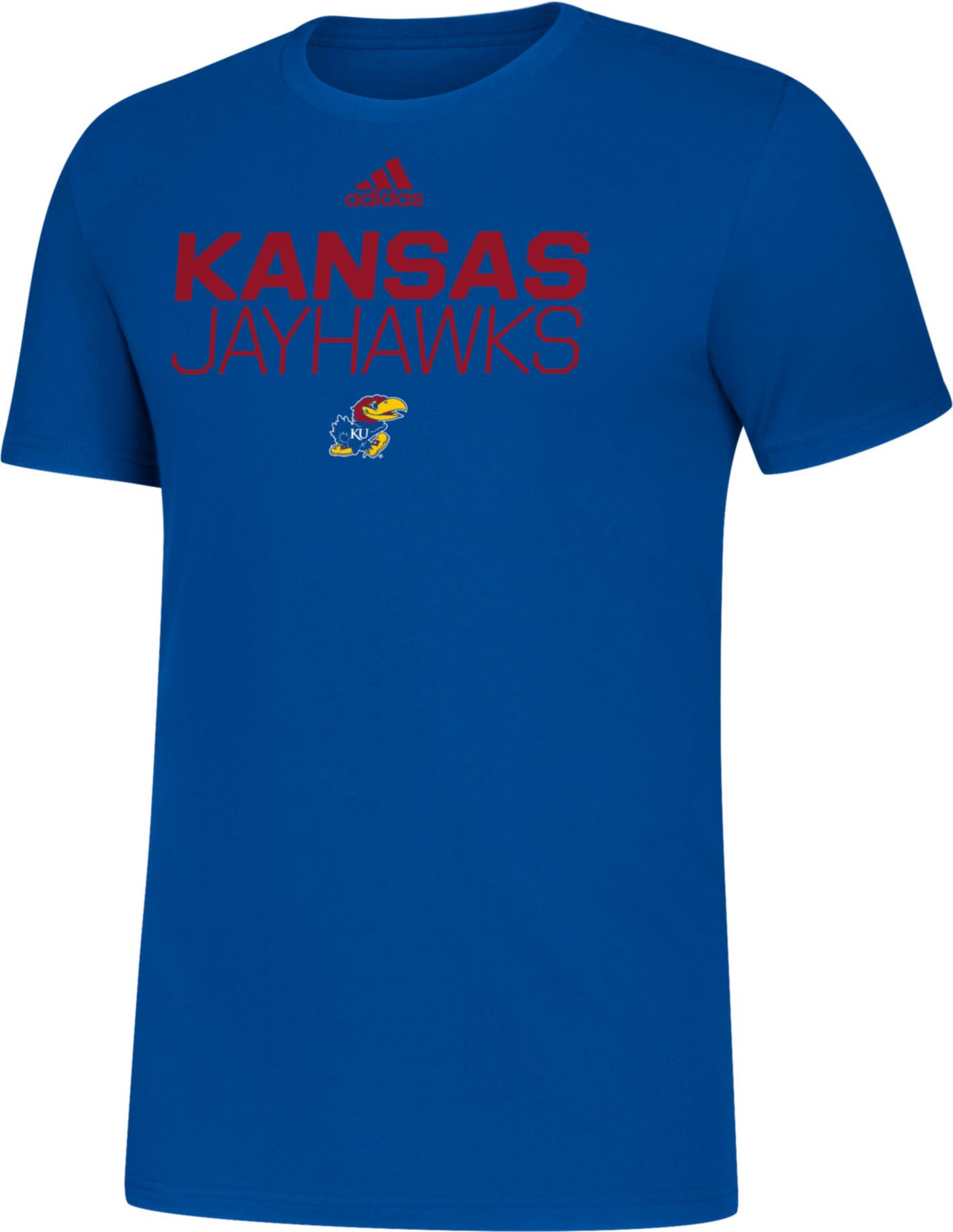 adidas Men's Kansas Jayhawks Blue Sideline Locker Stacked T-Shirt