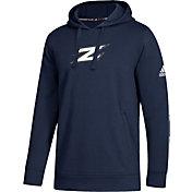 adidas Men's Akron Zips Navy Logo Fleece Pullover Hoodie