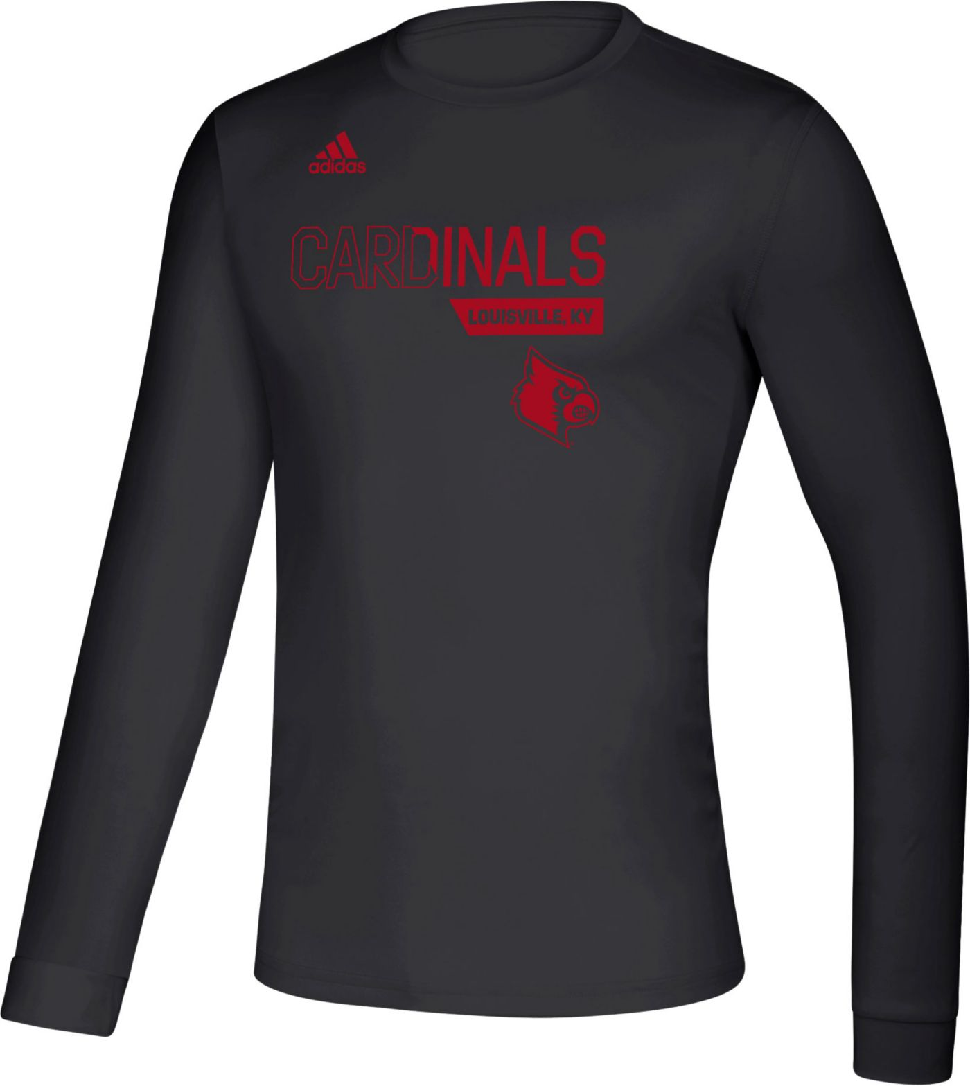 adidas Men's Louisville Cardinals Creator Long Sleeve Black T-Shirt