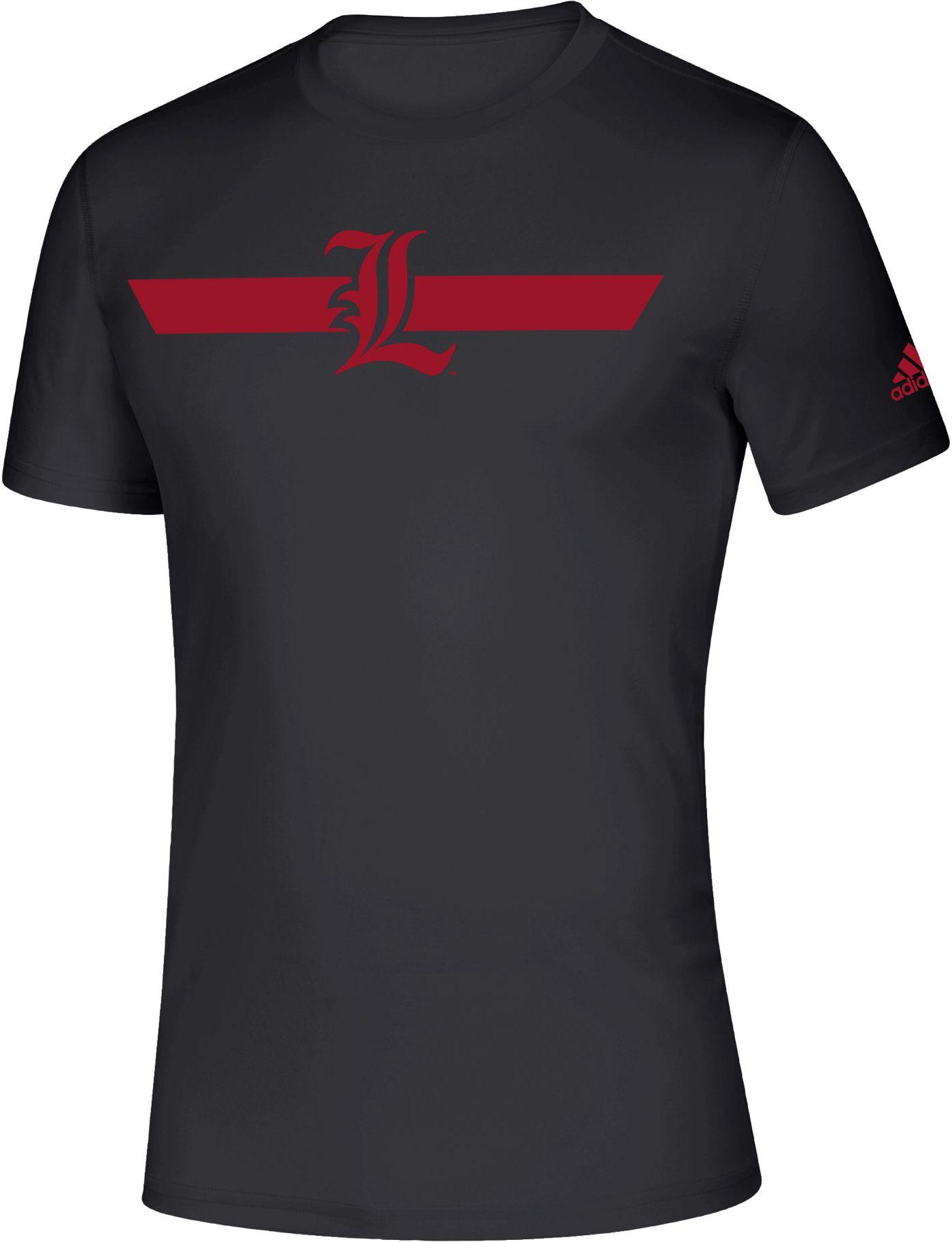 adidas Men's Louisville Cardinals Locker Stripe Sideline Black T-Shirt