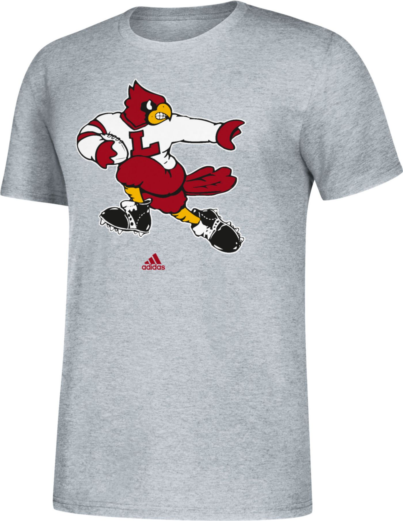adidas Men's Louisville Cardinals Grey Vault Logo T-Shirt
